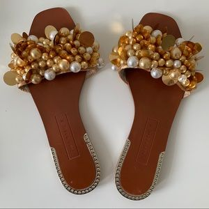 Zara Embellished Faux Pearl and Sequin Sandals